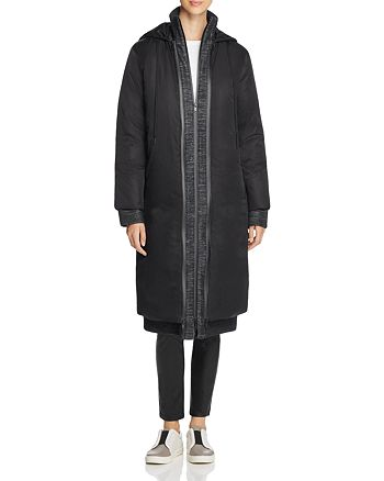 DKNY - Hooded Down Coat with Melange Warmer
