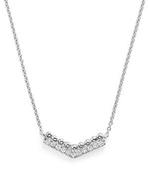 Dana Rebecca 14K White Gold Poppy Rae V Pendant Necklace with Diamonds, 16
