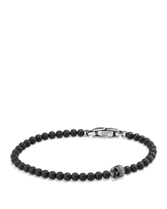 David Yurman Spiritual Beads Skull Bracelet with Black Onyx in Sterling Silver  | Bloomingdale's