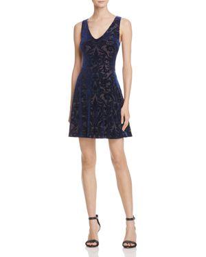 Aqua Velvet Brocade V-Neck Dress - 100% Exclusive