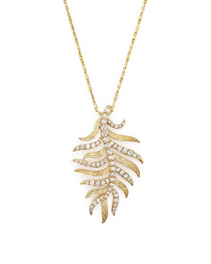 Bloomingdale's - Diamond Feather Pendant Necklace in 14K Yellow Gold, .60 ct. t.w.  - 100% Exclusive