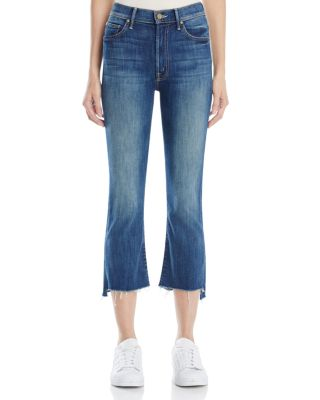 $MOTHER Insider Crop Step Fray Jeans in Not Rough Enough - Bloomingdale's