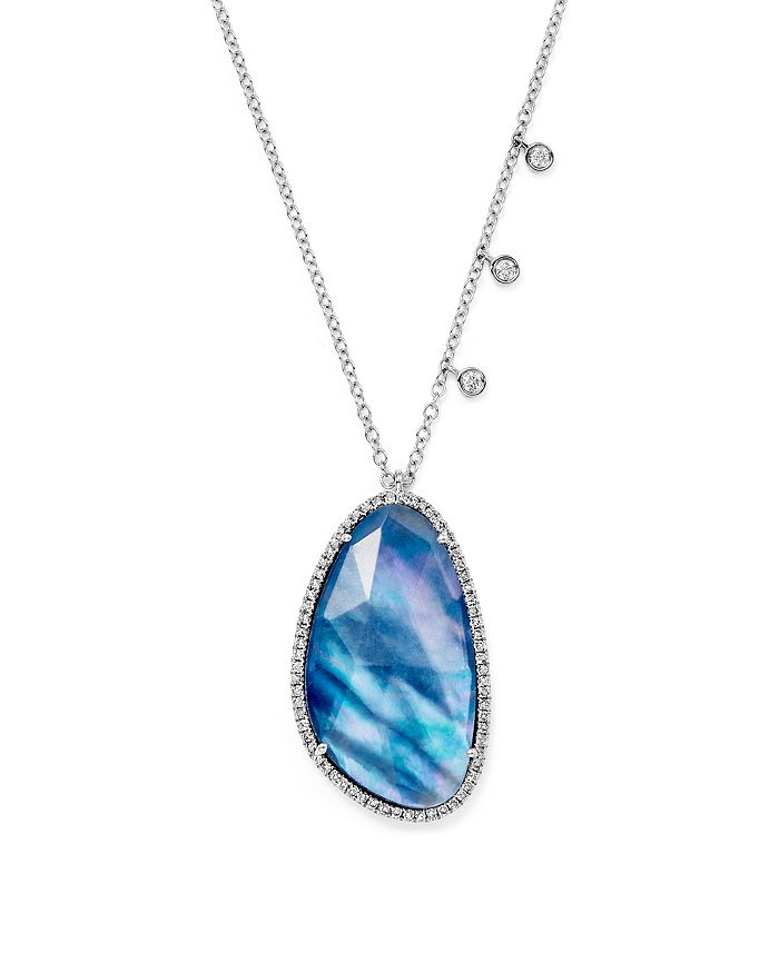 """Meira T - 14K White Gold Blue Sapphire and Moonstone Doublet Necklace with Diamonds, 16"""""""