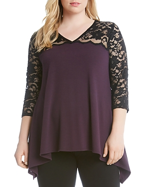 Karen Kane Plus Lace Yoke Flare Top