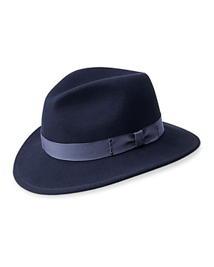 This fedora-style topper from Bailey of Hollywood features a pinch front crown and Japanese grosgrain.