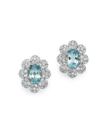 Bloomingdale's - Aquamarine and Diamond Earrings in 14K White Gold- 100% Exclusive
