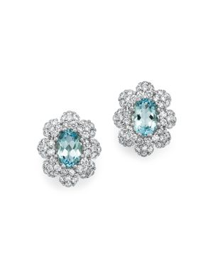 Aquamarine and Diamond Earrings in 14K White Gold - 100% Exclusive
