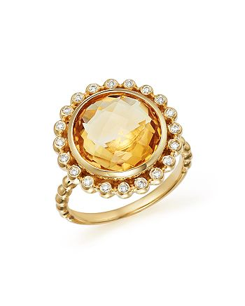 Bloomingdale's - Citrine and Diamond Statement Ring in 14K Yellow Gold- 100% Exclusive
