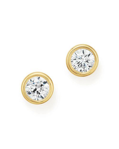 Bloomingdale's - Diamond Bezel Stud Earrings in 14K Yellow Gold, 1.0 ct. t.w.- 100% Exclusive