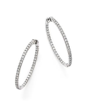 Diamond Inside Out Oval Hoop Earrings in 14K White Gold, 1.75 ct. t.w. - 100% Exclusive