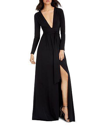 HALSTON HERITAGE - Plunge V-Neck Gown