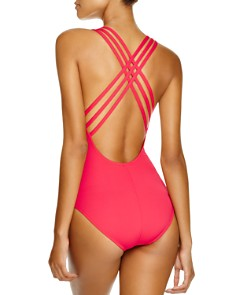La Blanca - Solid Multistrap Cross Back Maillot One Piece Swimsuit