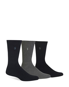 Polo Ralph Lauren - Assorted Cushioned Crew Socks - Pack of 3