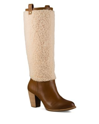 AVA SHEEPSKIN AND LEATHER TALL BOOTS