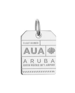 JET SET CANDY Aua Aruba Luggage Tag Charm in Silver