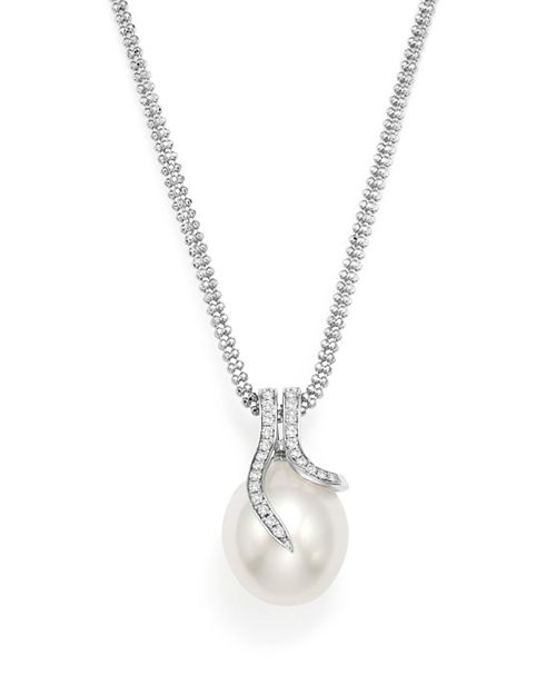 """Tara Pearls - 14K White Gold South Sea Cultured Pearl and Diamond Necklace, 18"""""""