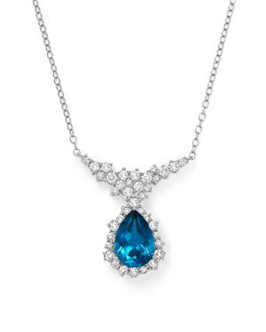 London Blue Topaz and Diamond Teardrop Necklace in 14K White Gold, 16 - 100% Exclusive