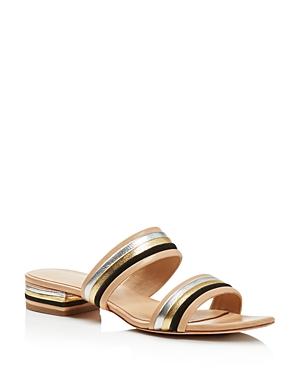 Loeffler Randall Rubie Color Block Metallic Stripe Slide Sandals