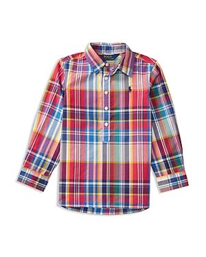 Polo Ralph Lauren Girls Plaid Poplin Popover Shirt  Little Kid