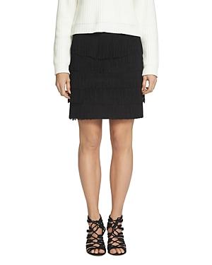 1.state Tiered Fringe Ponte Mini Skirt