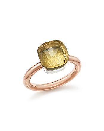 Pomellato - Nudo Classic Ring with Lemon Quartz in 18K Rose and White Gold