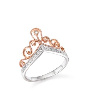 Diamond Crown Ring in 14K White and Rose Gold, .15 ct. t.w. - 100% Exclusive