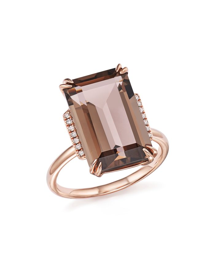 Bloomingdale's Smoky Quartz and Diamond Ring in 14K Rose Gold - 100% Exclusive  | Bloomingdale's