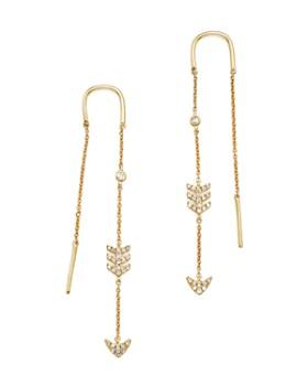 KC Designs - 14K Yellow Gold Diamond Micro Pavé Drop Chain Earrings