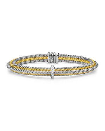 ALOR - Two Tone Multi Cable Cuff with Diamonds