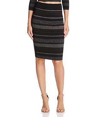 Kendall + Kylie Metallic Stripe Pencil Skirt