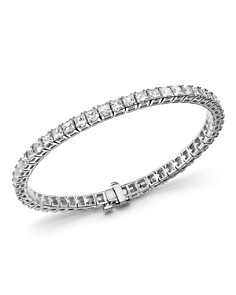 Bloomingdale's - Princess-Cut Diamond Tennis Bracelet in 14K White Gold, 10.20 ct. t.w. - 100% Exclusive