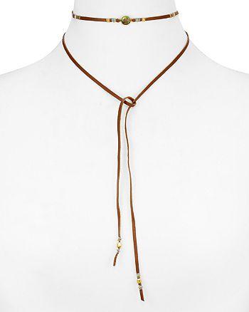 "Chan Luu - Labradorite Wrapped Leather Choker Necklace, 40"""