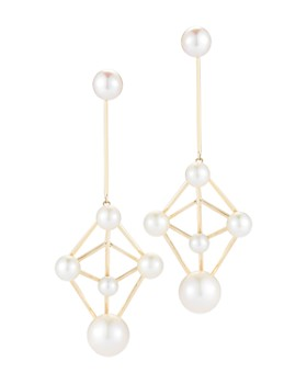 MATEO - 14K Yellow Gold Cultured Freshwater Pearl Atomium Drop Earrings