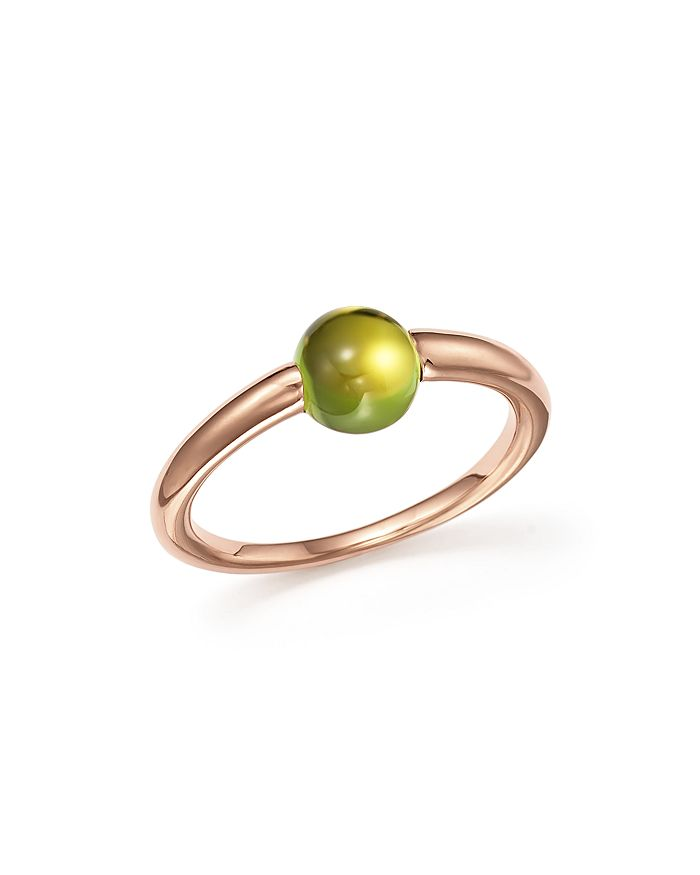 Pomellato M'ama Non M'ama Ring With Peridot In 18k Rose Gold In Green/rose