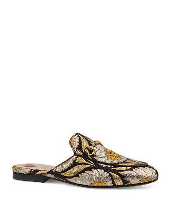 Gucci - Women's Princetown Metallic Jacquard Mules