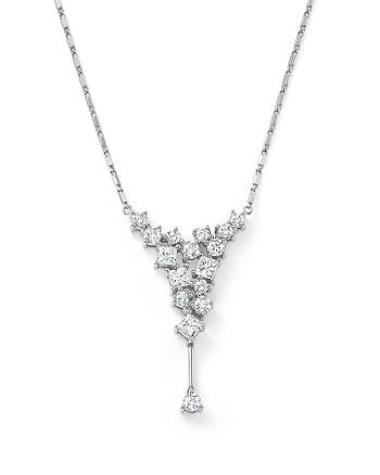 Bloomingdale's - Diamond Round and Princess Cut Cascade Necklace in 14K White Gold, 1.0 ct. t.w.- 100% Exclusive