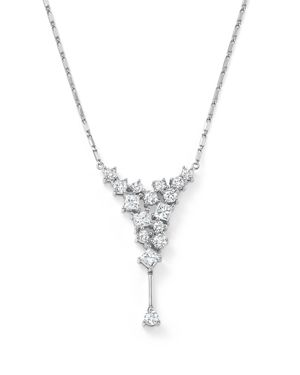 Diamond Round and Princess Cut Cascade Necklace in 14K White Gold, 1.0 ct. t.w. - 100% Exclusive