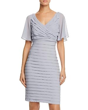 Adrianna Papell Flutter-Sleeve Pleated Dress