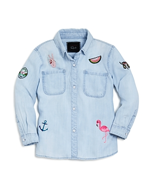 Rails Girls Embroidered  Appliqued Chambray Shirt  Little Kid Big Kid