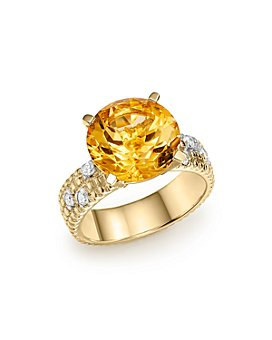 Bloomingdale's - Citrine Statement Ring with Diamonds in 14K Yellow Gold - 100% Exclusive