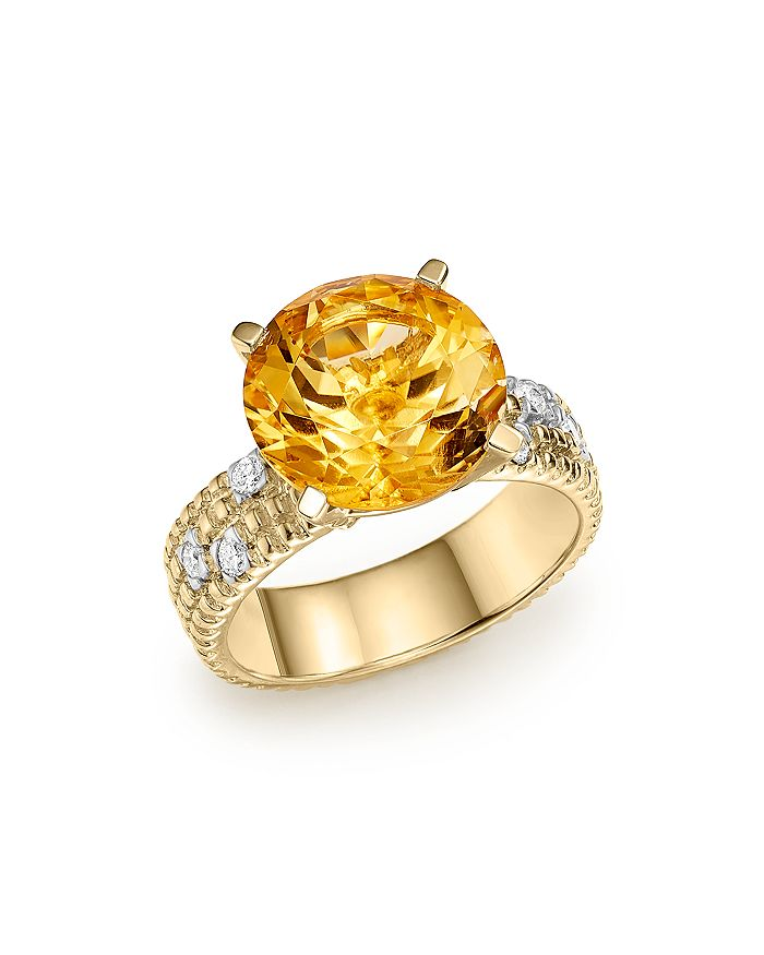 Bloomingdale's - Citrine Statement Ring with Diamonds in 14K Yellow Gold- 100% Exclusive