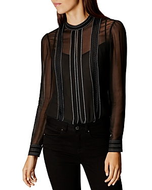 Karen Millen Lace Trim Sheer Blouse