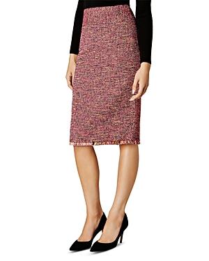 Karen Millen Fringe Trim Tweed Pencil Skirt