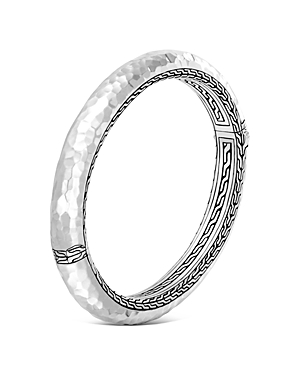 John Hardy Sterling Silver Classic Chain Hammered Medium Oval Hinged Bangle-Jewelry & Accessories