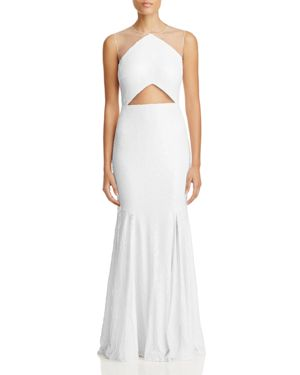 LM COLLECTION Sequin Mesh Gown in White