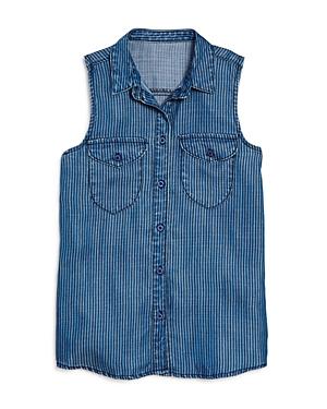 Aqua Girls' Striped Chambray Shirt, Big Kid - 100% Exclusive