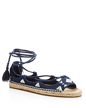 Soludos Denim Open Toe Embroidered Lace Up Sandals - 100% Exclusive