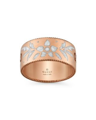 18 K Pink Gold And Mystic White Enamel Icon Blooms Ring by Gucci