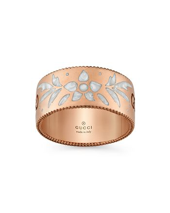 Gucci - 18K Pink Gold and Mystic White Enamel Icon Blooms Ring