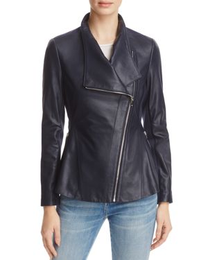 Via Spiga Peplum-Back Leather Moto Jacket